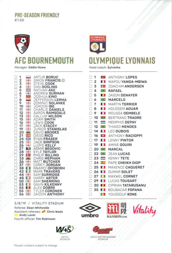 Bournemouth v Lyon programme back
