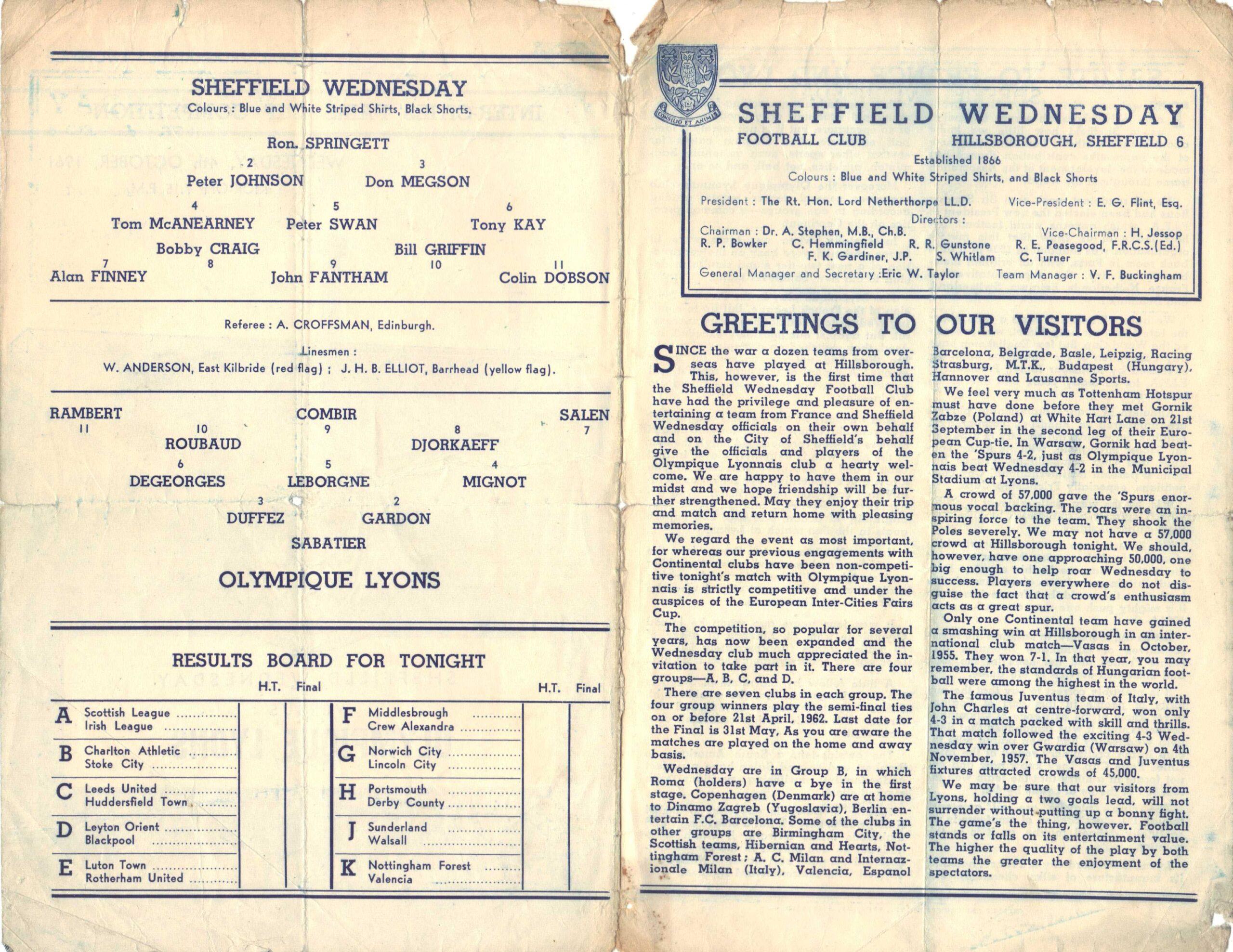 Sheffield Wednesday v Lyon teams page in match programme