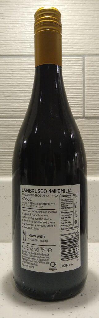Lambrusco Rosso bottle reverse